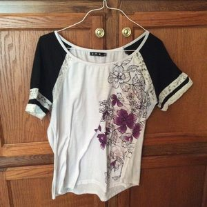 ITA women's blouse purple floral design +